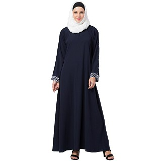 Casual A-line abaya with piping work- Navy Blue
