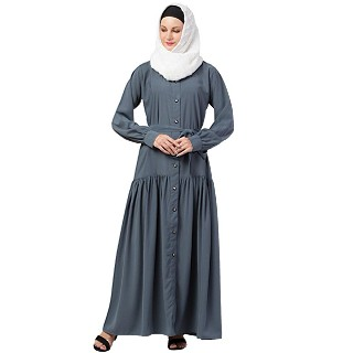 Front open abaya with a belt- Grey