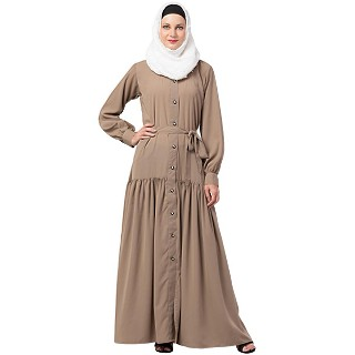 Front open abaya with a belt- Beige
