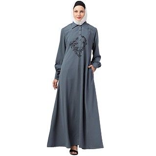 Collared abaya with embroidery- Grey