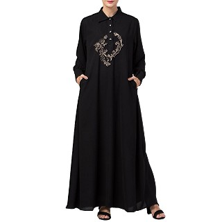 Collared abaya with embroidery- Black