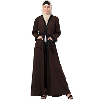 Front open abaya with black border- Coffee-Brown