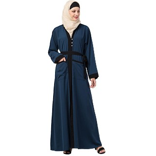Front open abaya with black border- Blue