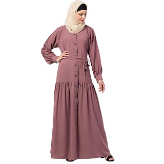 Front open abaya with a belt- Puce Pink