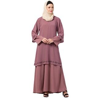 Layered Abaya with Embroidery work- Pink