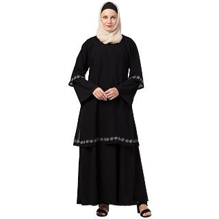 Layered Abaya with Embroidery work- Black
