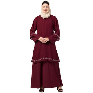 Layered Abaya with Embroidery work- Maroon