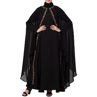 Double layered Irani Kaftan abaya with embroidery- Black