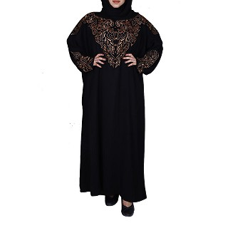 Premium A-line abaya with embroidery work- Jet Black