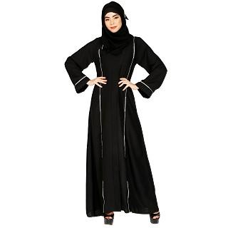 Shiny Nida abaya with piping work- Black