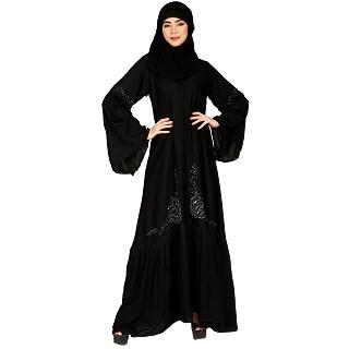 Bell sleeves abaya with Stone work- Black