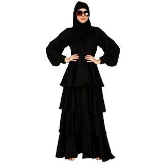 Frock Style Shiny Nida abaya- Black