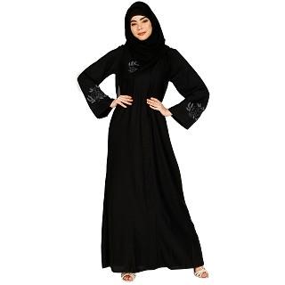 Classic abaya with Stone work- Black
