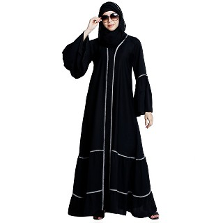 Bell sleeves abaya with piping work- Black