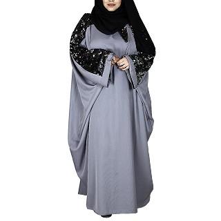 Designer kaftan abaya with sequence work- Grey