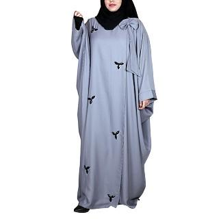 Layered Kaftan abaya with stonework- Grey