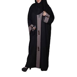 Front open designer Kaftan abaya- Black-Brown