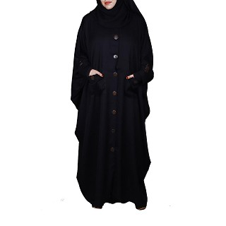 Designer Kaftan abaya with wooden buttons- Black