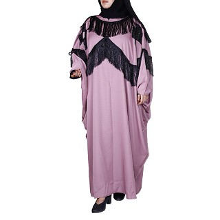 Designer kaftan abaya with attached laces- Pink