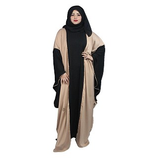 Duel colored kaftan abaya with piping work- Black-Cream