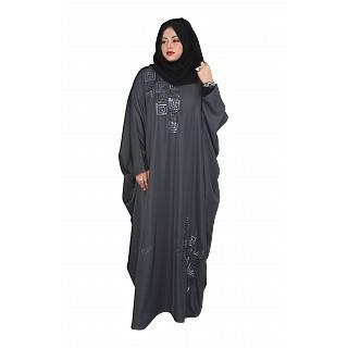 Kaftan abaya with sequence hand work- Grey