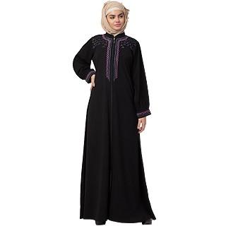 Zipper abaya with embroidery work- Black