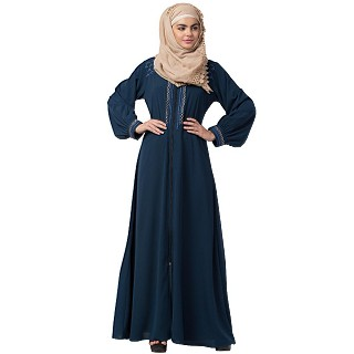 Zipper abaya with embroidery work- Firozi