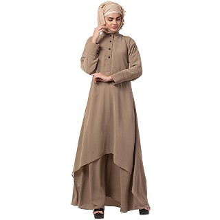 Double layered abaya with cuff sleeves- Beige