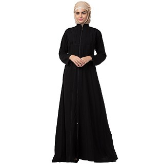 Front open zipper abaya with pintucks- Black