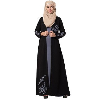 Double layered abaya with embroidery work- Black
