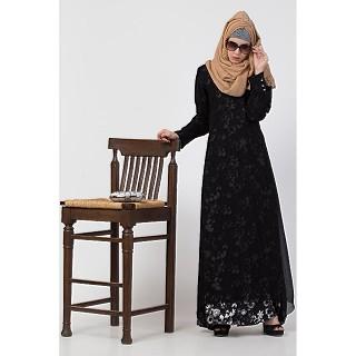 Layered printed abaya-black-white