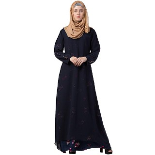 Layered printed abaya- blue-red