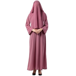 Arabian abaya with naqaab set- Puce Pink