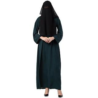 Arabian abaya with naqaab set- Green-Black