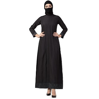 Casual Abaya with striped border- Black