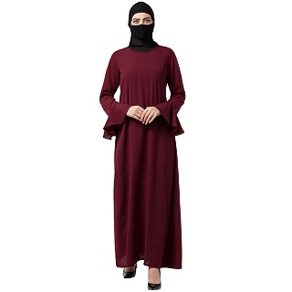 A-line abaya with bell sleeves- Maroon
