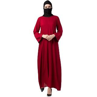 A-line Rayon Cotton abaya- Maroon