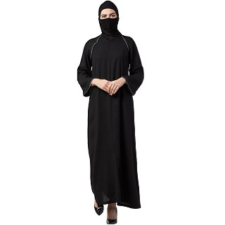 A-line abaya with contrast details- Black