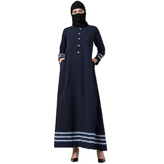 Casual Abaya with striped border- Navy Blue
