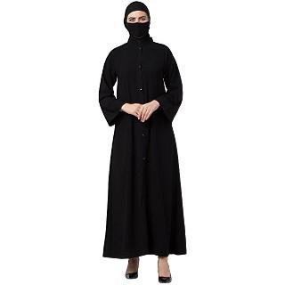 Front open abaya with mandarin collar- Black