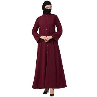 Front open abaya with mandarin collar- Maroon