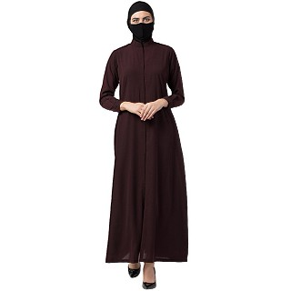 Front open abaya with mandarin collar- Wine