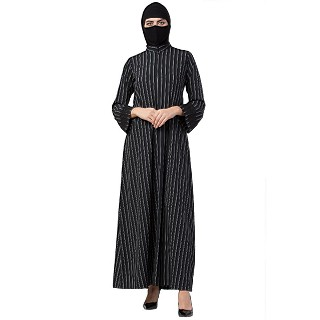 Casual Abaya with stripes- Black