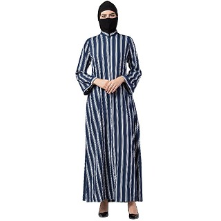 Casual Abaya with stripes- Blue-White