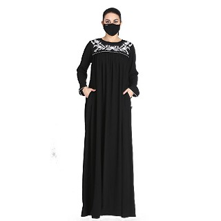 Designer embroidery abaya with matching Hijab- Black