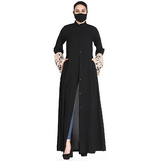 Front open abaya with embroidered bell sleeves- Black