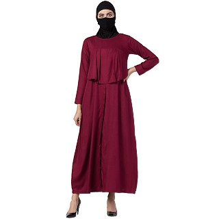 Casual abaya with an extra layer- Maroon
