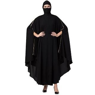 Irani Kaftan abaya with contrast piping- Black