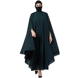 Irani Kaftan abaya with contrast piping- Bottle Green