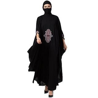 Designer Irani Kaftan abaya with chikan embroidery- Black